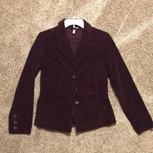 Burgandy Corduroy Button Up Blazer